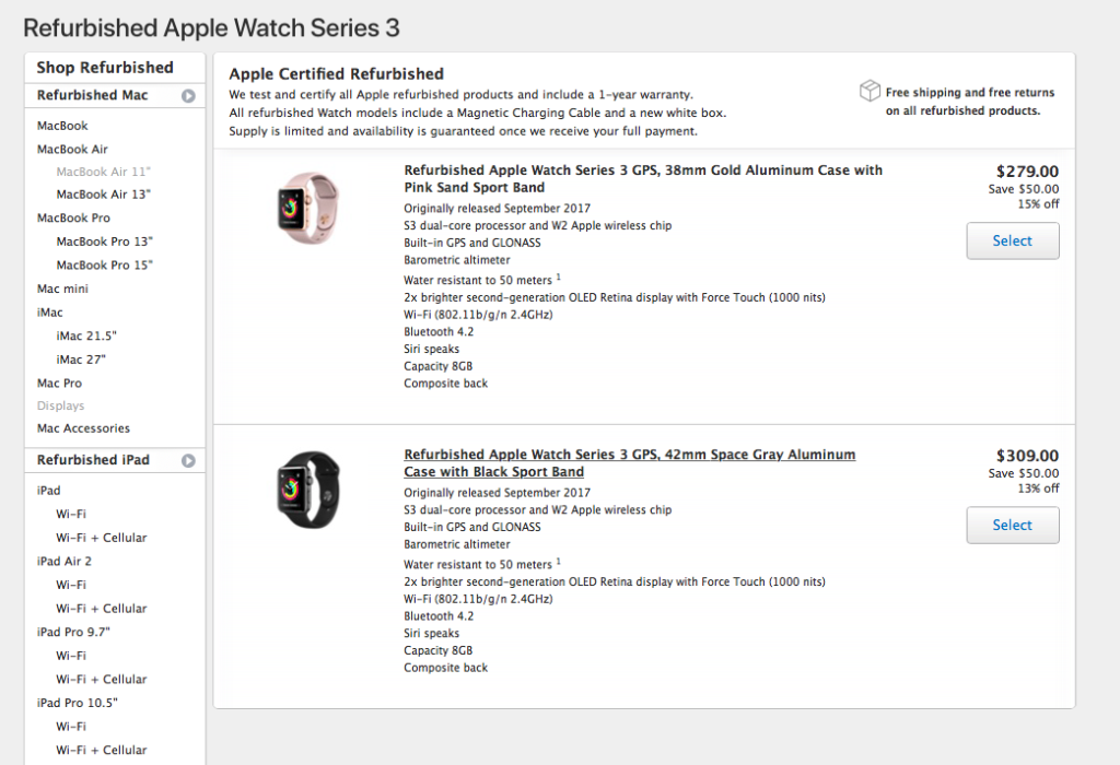 photo image Refurbished Apple Watch Series 3 Units Now on Sale From Apple