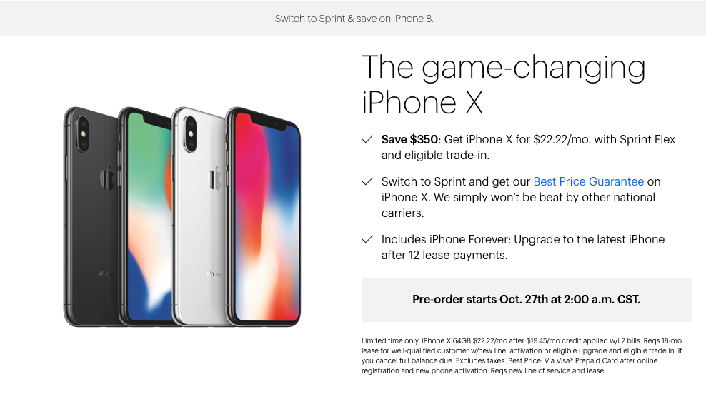 sprint iphone upgrade sprint is offering 350 an iphone x with eligible 1027